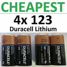 4 x NEW 123 Duracell 3V Lithium Batteries (CR123A, DL123, Photo) EXP 2026++