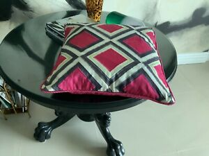 Mackenzie Childs Throw Pillow .Pink/grey With Few Other Colors Sq 20 X2