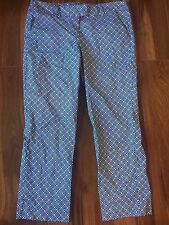 ladies DONNA RICCO CAPRI PANTS blue white print STRETCHY casual career SIZE 8