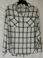 A.N.D. A NEW DAY Women's XL Black White Plaid Long Sleeve Button Front Blouse