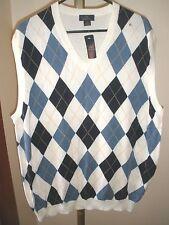 "Nwt Men'S Brooks Brothers ""346"" Supima Cotton Argyle Sweater Golf Vest Sz Xl"