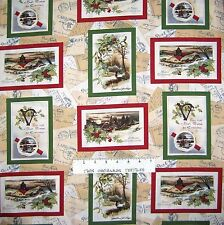 Christmas Fabric - Traditional Holiday Postcard Toss Beige - Riverwoods YARD