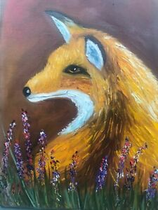 Fox oil painting animal wall decor impasto pet portrait canvas fox wall art knif