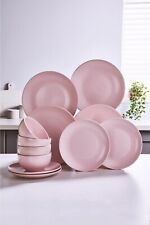 12-Piece Stoneware Dinner Set Pink