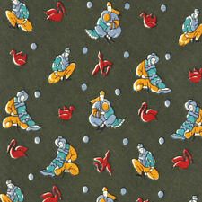 SALVATORE FERRAGAMO Green Asian Figures Crane Birds Men's Silk Neck Tie