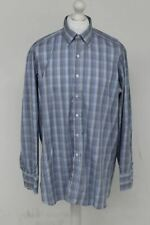 TURNBULL & ASSER Men's Blue Checked Cotton Button-Up Collar Formal Shirt XL NEW