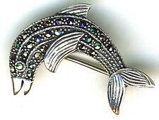 Plata esterlina 925 Delfín Saltando Marcasita Broche 30 Mm x 20 mm