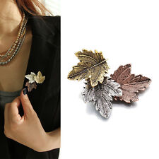 Women Vintage Maple Leaf Brooch Gold Silver Plated Brooches Pins Dance Party Xbl