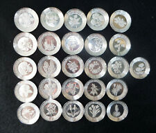 Sterling Silver Floral Alphabet Plates Franklin Mint