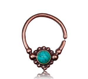 16G ROSE BRASS BLUE TURQUOISE SEPTUM SMALL 9MM RING DIAMETER NOSE HANGING NOSE