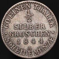 1844 A | German States Prussia 1/2 Groschen | Silver | Coins | KM Coins