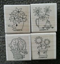 Stampin' Up Lot of 4 Wood Mounted Rubber Stamps Flower Frog Ladybug Bird Tulip