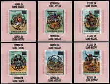 Guinea-Bissau 1976 - Mi-Nr. Block 12-17 a A ** - MNH - UPU - Tanzmasken (I)