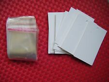 100 WHITE EARRING JEWELRY DISPLAY HANGING CARDS AND 100 CLEAR SELF ADHESIVE BAGS