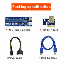 PCI-E 1x to 16x Powered USB3.0 GPU Riser Extender Adapter Card