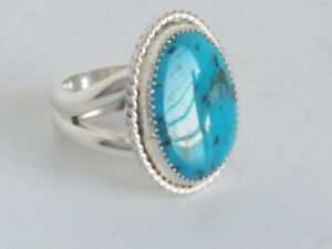 Morenci Turquoise Sterling Silver Ring Size 6 - 10.6g Signed