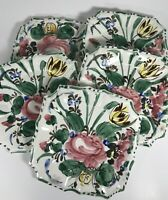 Hand Painted Floral Italy Italian Salad Desert Plate Lot Of 5