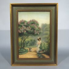 Vintage French Oil Painting,Woman in a Garden, Roses, Flowers, Trees, Signed
