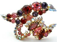 Signed Austria Brooch with Pink Purple Red & Ab Rhinestones Large Vintage Pin