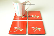 4 Handmade Coasters, Lacquered & Inlaid Rectangular Wooden Cork, Red C021