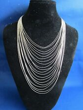 Silver Necklace Vintage Liquid Sterling Long TWENTY Draped Strands Fine *GR115
