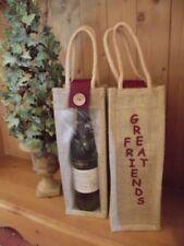 """""""Great Friends"""" Hessian / Jute Wine Gift Bottle Bag"""