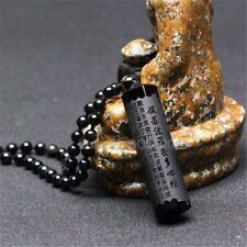 Natural Black Obsidian Carved Buddhism Words Strip Lucky Pendant +Beads Necklace