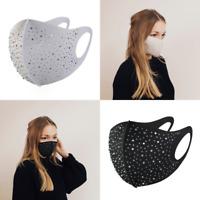 Elastsiche Stoffmaske Mund-Nasen-Maske Gesichtsmaske Spandex Strass Glitzer