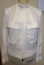 WITCHERY NEW White Bomber Style Stud Snap Collar Draping Long Sleeve Jacket 12