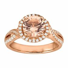 Simulated Morganite & Cubic Zirconia Ring, 18K Rose Gold-Plated Sterling Silver