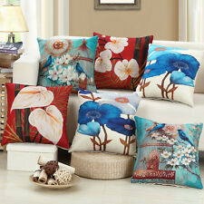 Stylish Flowers Cushion Cover Floral Birds Pillow Case Home Office Decor FN174