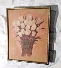 Painting Picture Antique Vintage Aged Look Still Life Bunch Tulips Framed