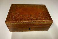 Vintage Tan Leather Cigarette Box circa 1950's