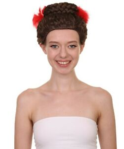 Women Curly Top Bun With Red Lace Wig, Dark Brown HW-2793