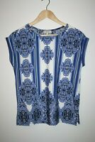 Papaya Weekend Woman's Office Casual White Blue Sleeveless Floral Top Size 10