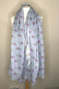 Light Blue Thistle Print With 20% Cashmere Woman's Scarf
