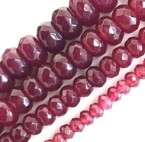 """Red Ruby Jade Faceted Rondelle Loose Bead 15"""" strand 4mm 6mm 8mm 10mm Jewelry"""