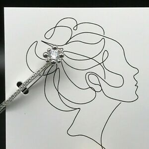 Shinning Silver tone Hair Clip with white Cubic Zirconia