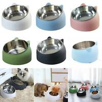 STAINLESS STEEL Dog Bowl Raised Pet Cat Water Food Feeder Dish Holder With Stand