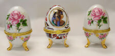 LOT OF 3 VINTAGE FOOTED HINGED CERAMIC EGG JEWELRY TRINKET BOXES