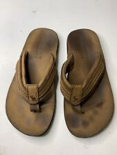 Abercrombie & Fitch New York Men's Brown Leather Flip Flops Sandals Shoes