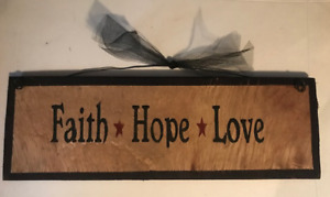 FAITH HOPE LOVE Country Primitive religious Wood inspirational wall decor sign