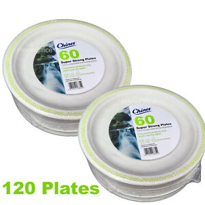 120 Plates Chinet 24cm Super Strong Disposable Party  (2 x 60) gr