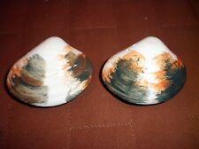 Vintage Mid Century clam shell salt pepper shaker Nanco Japan