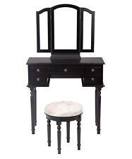 Black Makeup Vanity Table Set Tri-Folding Mirror Makeup Table With 5 Drawers 52