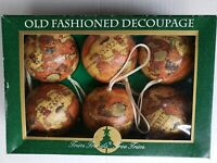 Vintage 1993 Seasonal Specialties Old Fashioned Decoupage Globe Christmas Bulbs