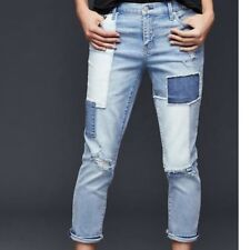 Gap Patched Girlfriend Jeans, NWT, 28 Tall, Light Wash