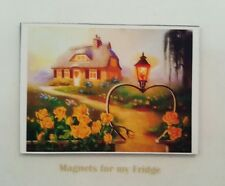 ANIMATED COLOUR PRINT OF COUNTRY COTTAGE SETTING FRIDGE MAGNET - M315