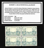 1937 - CSA GENL's - LEE & JACKSON - Mint -MNH- Block of  Vintage Postage Stamps