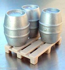 "Budweiser Beer Keg Miniatures (3) w Cooler ""Skid"" Pallet 1/24 Scale G Diorama"